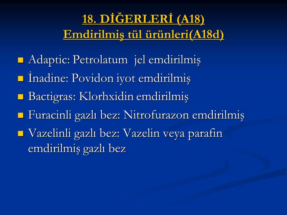 18. DİĞERLERİ (A18) Emdirilmiş tül ürünleri(A18d)