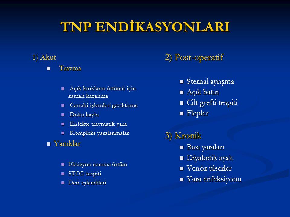 TNP ENDİKASYONLARI 2) Post-operatif 3) Kronik 1) Akut Sternal ayrışma