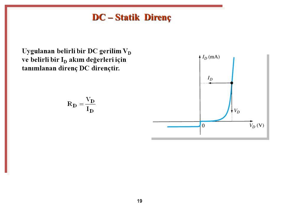 DC – Statik Direnç Uygulanan belirli bir DC gerilim VD ve belirli bir ID akım değerleri için tanımlanan direnç DC dirençtir.