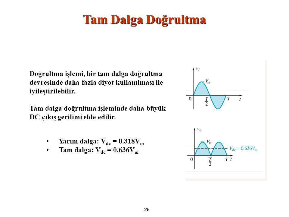 Tam Dalga Doğrultma Doğrultma işlemi, bir tam dalga doğrultma devresinde daha fazla diyot kullanılması ile iyileştirilebilir.