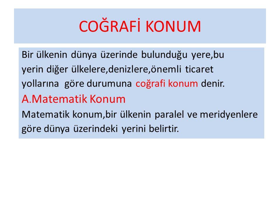 COĞRAFİ KONUM A.Matematik Konum