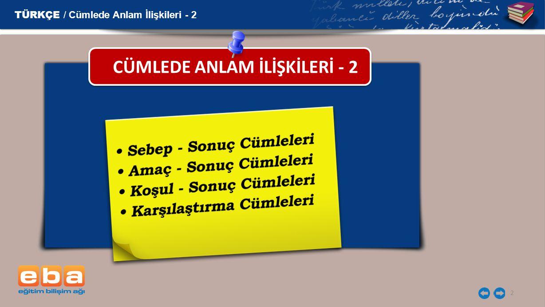 CÜMLEDE ANLAM İLİŞKİLERİ - 2