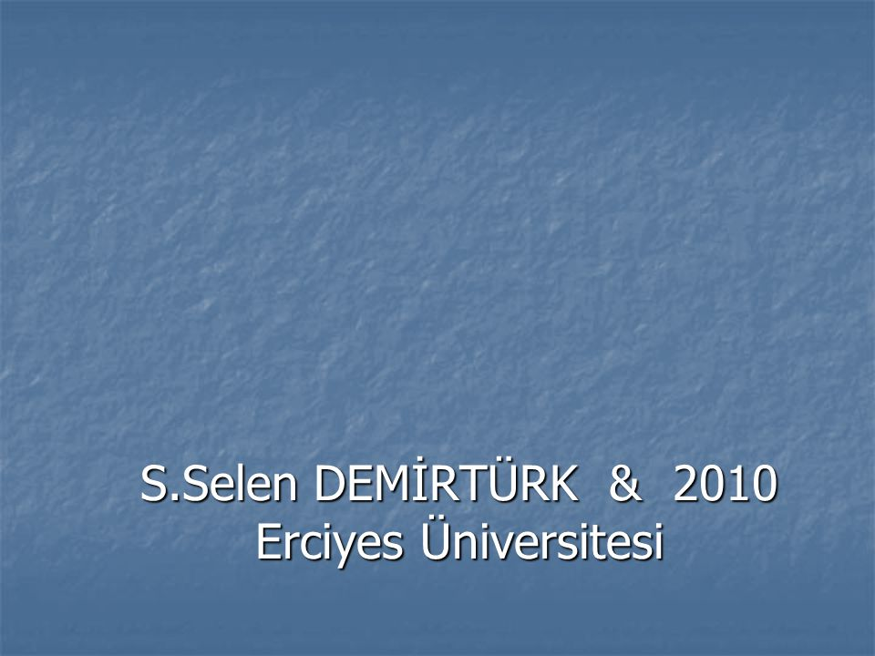 S.Selen DEMİRTÜRK & 2010 Erciyes Üniversitesi