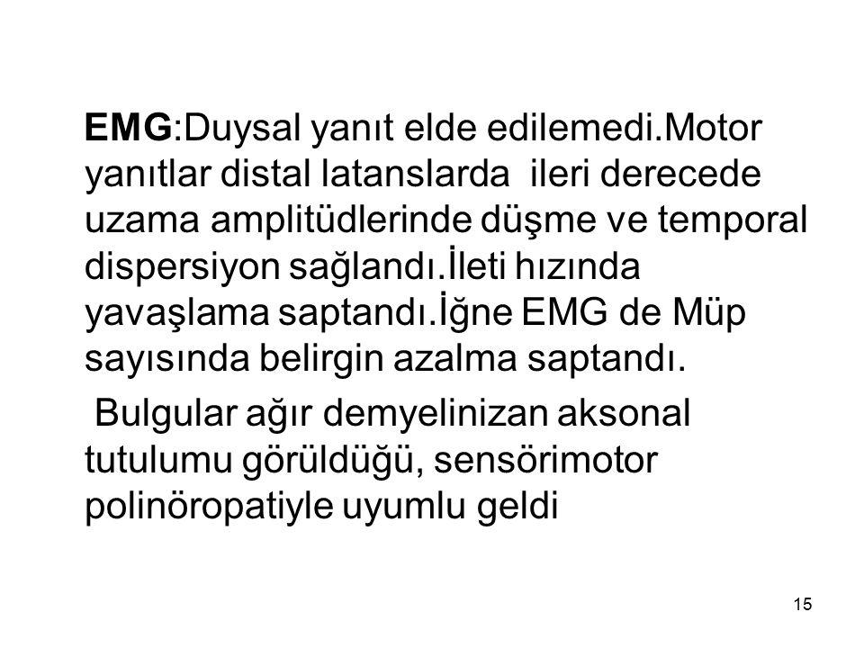 EMG:Duysal yanıt elde edilemedi