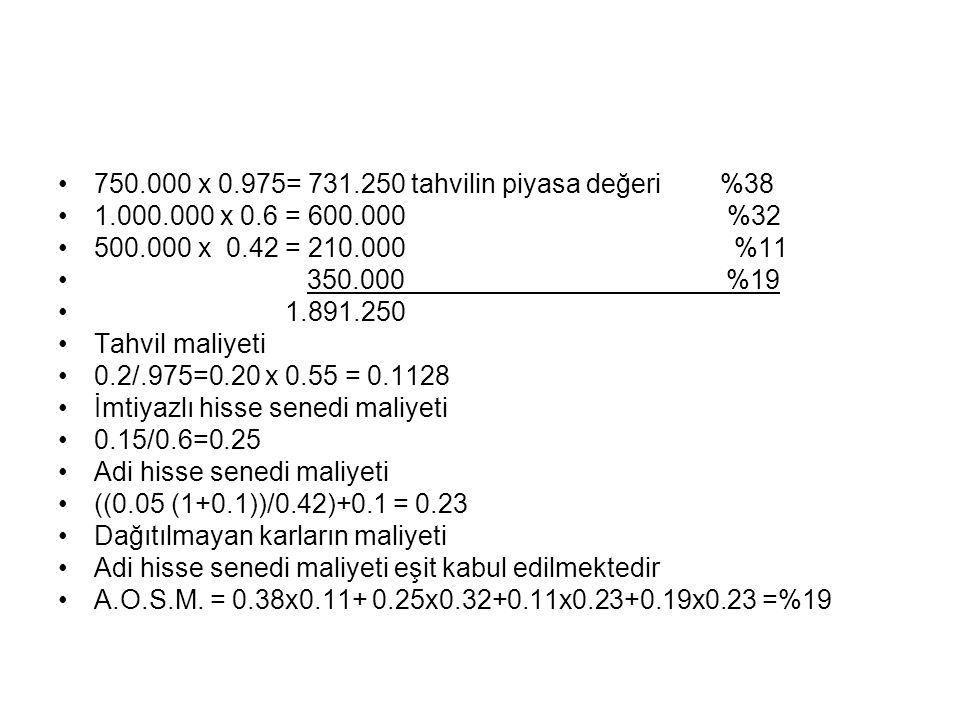 750.000 x 0.975= 731.250 tahvilin piyasa değeri %38