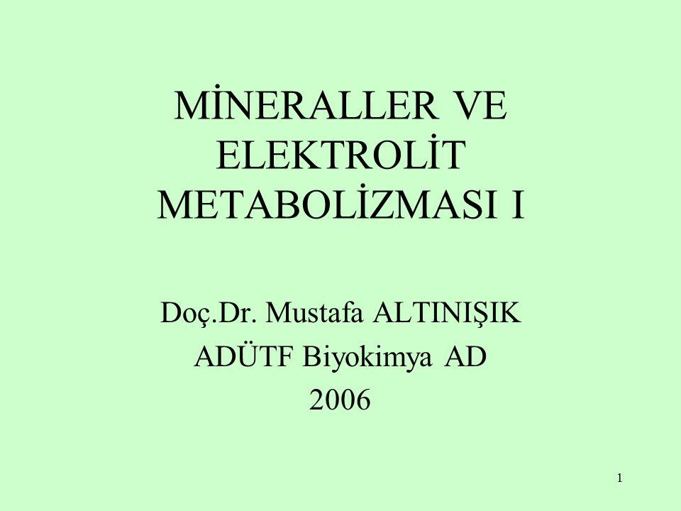 MİNERALLER VE ELEKTROLİT METABOLİZMASI I