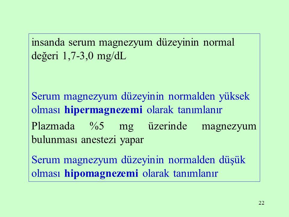 insanda serum magnezyum düzeyinin normal değeri 1,7-3,0 mg/dL