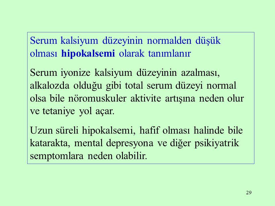 Serum kalsiyum düzeyinin normalden düşük olması hipokalsemi olarak tanımlanır