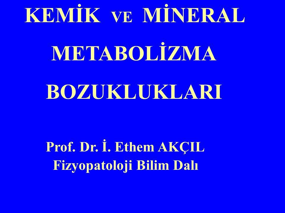 KEMİK VE MİNERAL METABOLİZMA BOZUKLUKLARI Prof. Dr. İ. Ethem AKÇIL