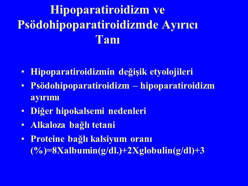 Hipoparatiroidizm ve Psödohipoparatiroidizmde Ayırıcı Tanı