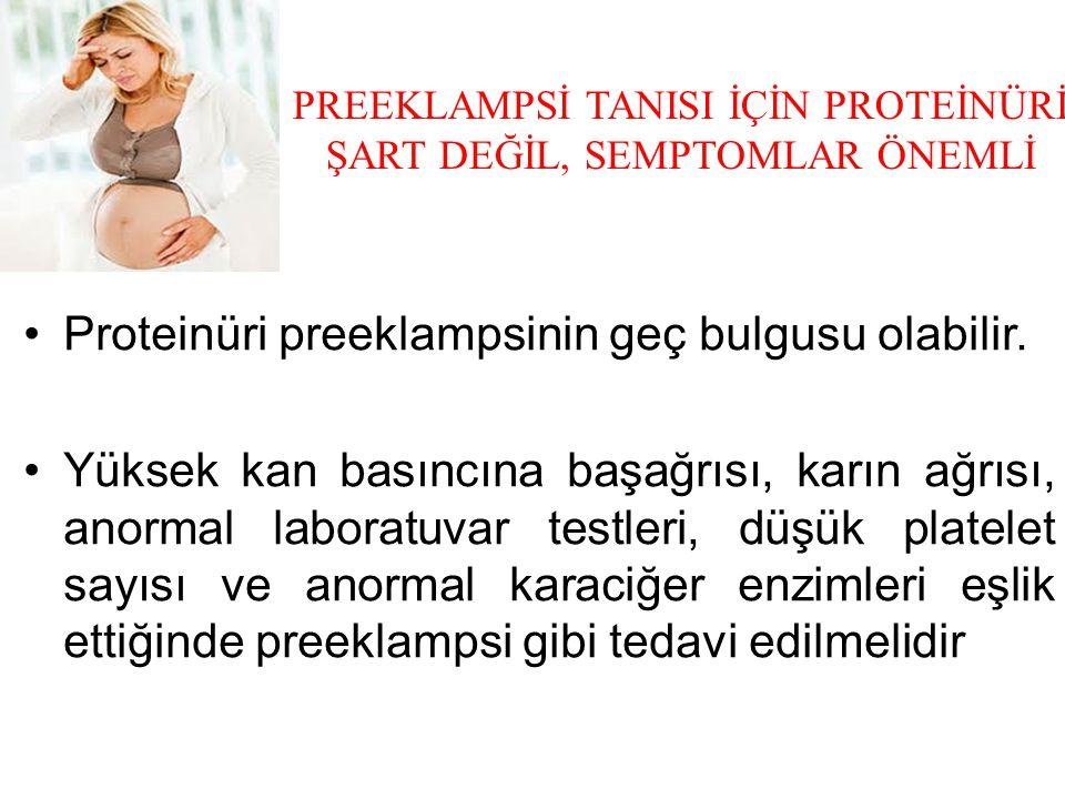 PREEKLAMPSİ TANISI İÇİN PROTEİNÜRİ ŞART DEĞİL, SEMPTOMLAR ÖNEMLİ