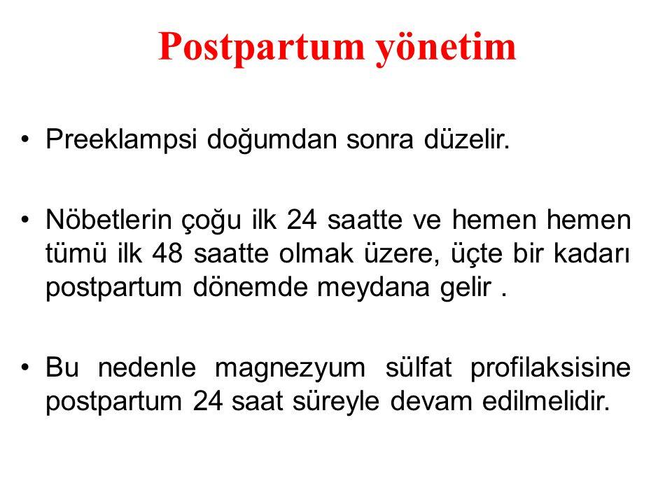Postpartum yönetim Preeklampsi doğumdan sonra düzelir.