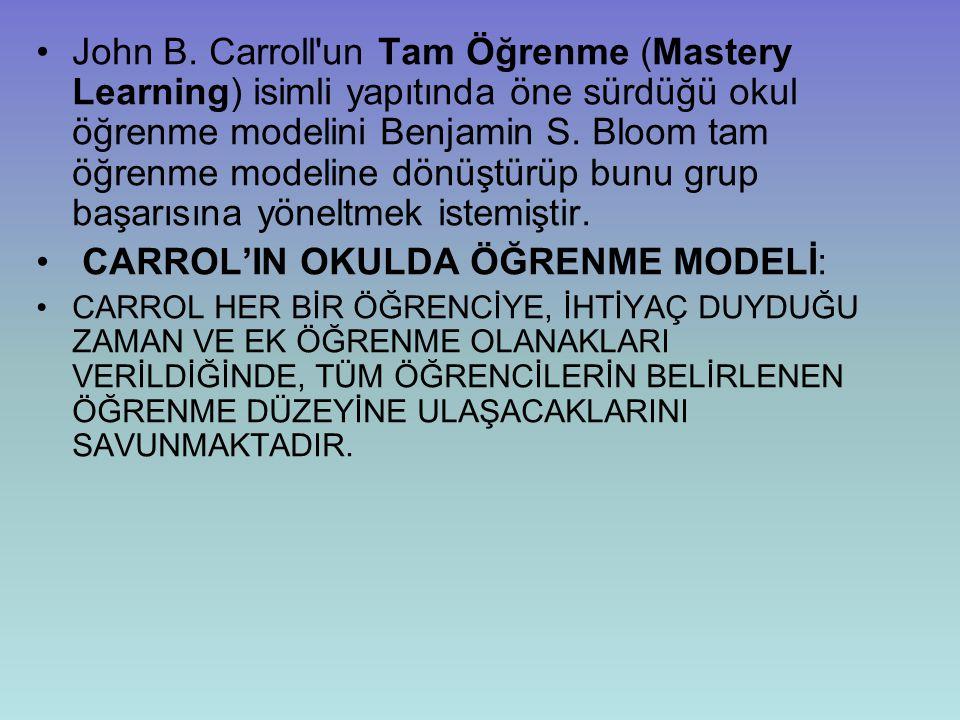 CARROL'IN OKULDA ÖĞRENME MODELİ: