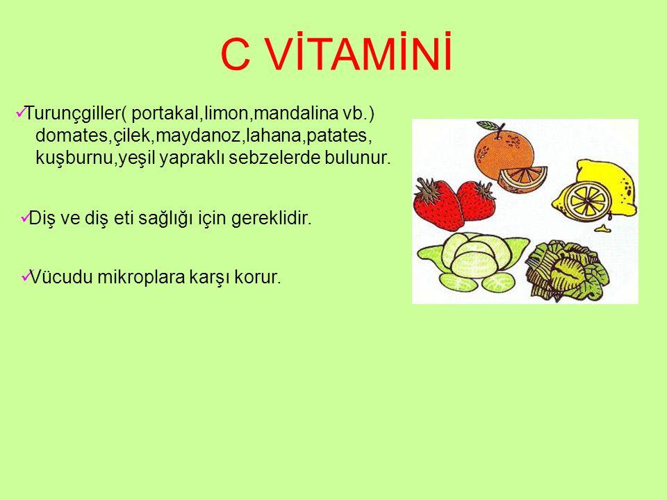 C VİTAMİNİ Turunçgiller( portakal,limon,mandalina vb.)