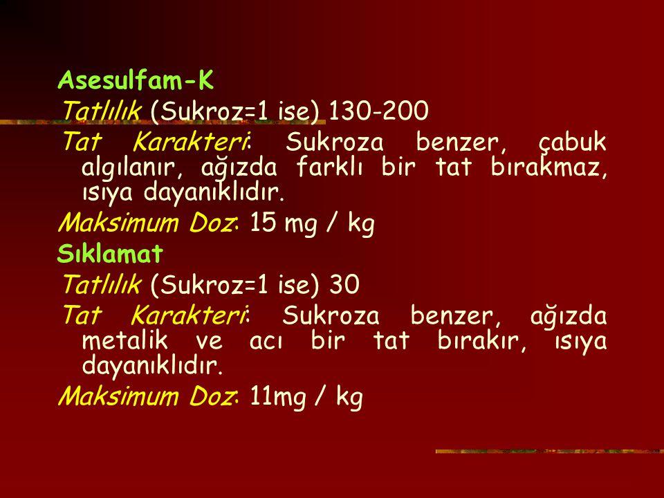 Asesulfam-K Tatlılık (Sukroz=1 ise) 130-200. Tat Karakteri: Sukroza benzer, çabuk algılanır, ağızda farklı bir tat bırakmaz, ısıya dayanıklıdır.
