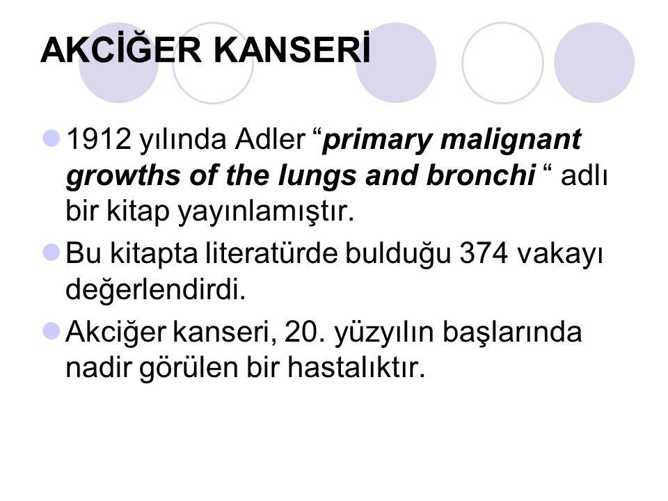 AKCİĞER KANSERİ 1912 yılında Adler primary malignant growths of the lungs and bronchi adlı bir kitap yayınlamıştır.