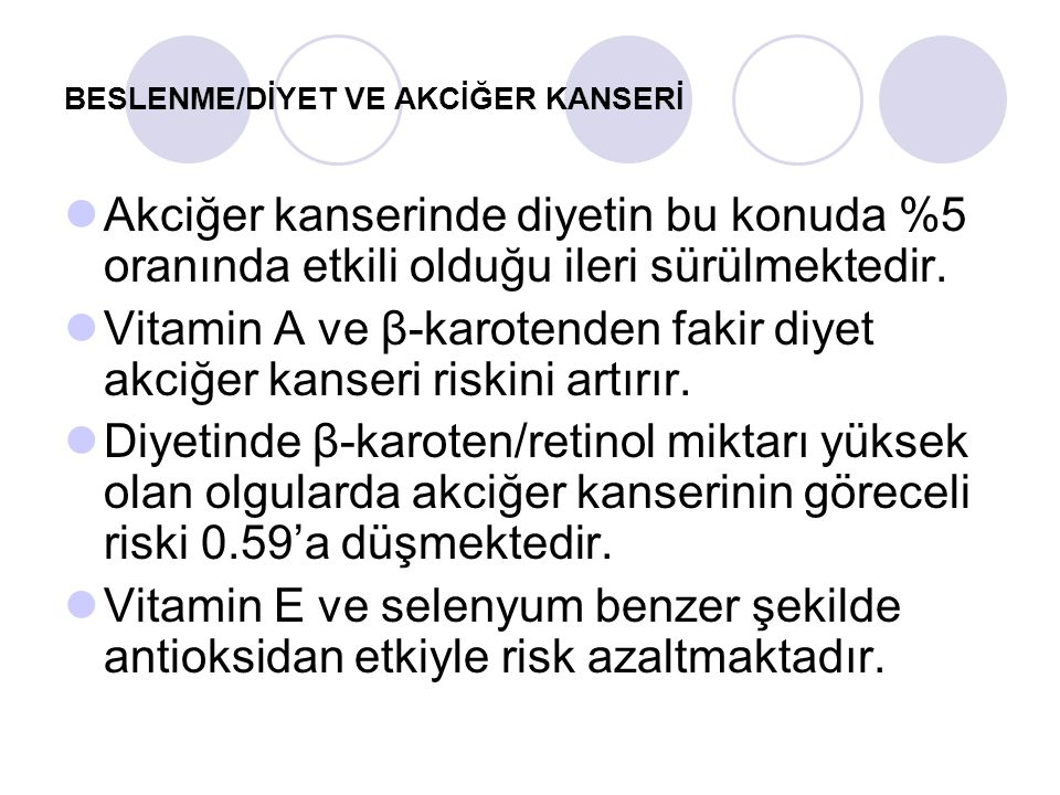 BESLENME/DİYET VE AKCİĞER KANSERİ