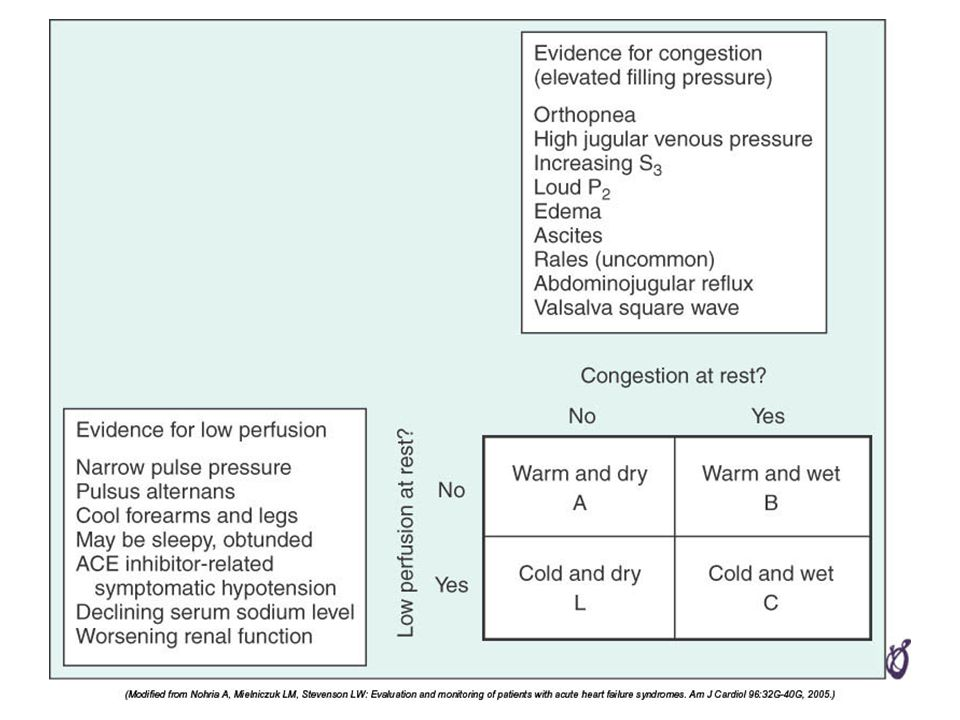 FIGURE 24–7 Hemodynamic profiles of patients presenting with advanced heart failure as described by a 2 × 2 table.
