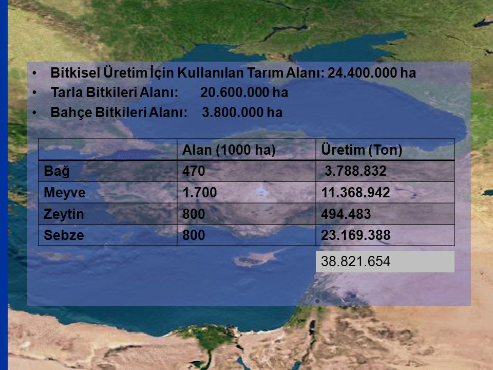 Bitkisel Üretim İçin Kullanılan Tarım Alanı: 24.400.000 ha
