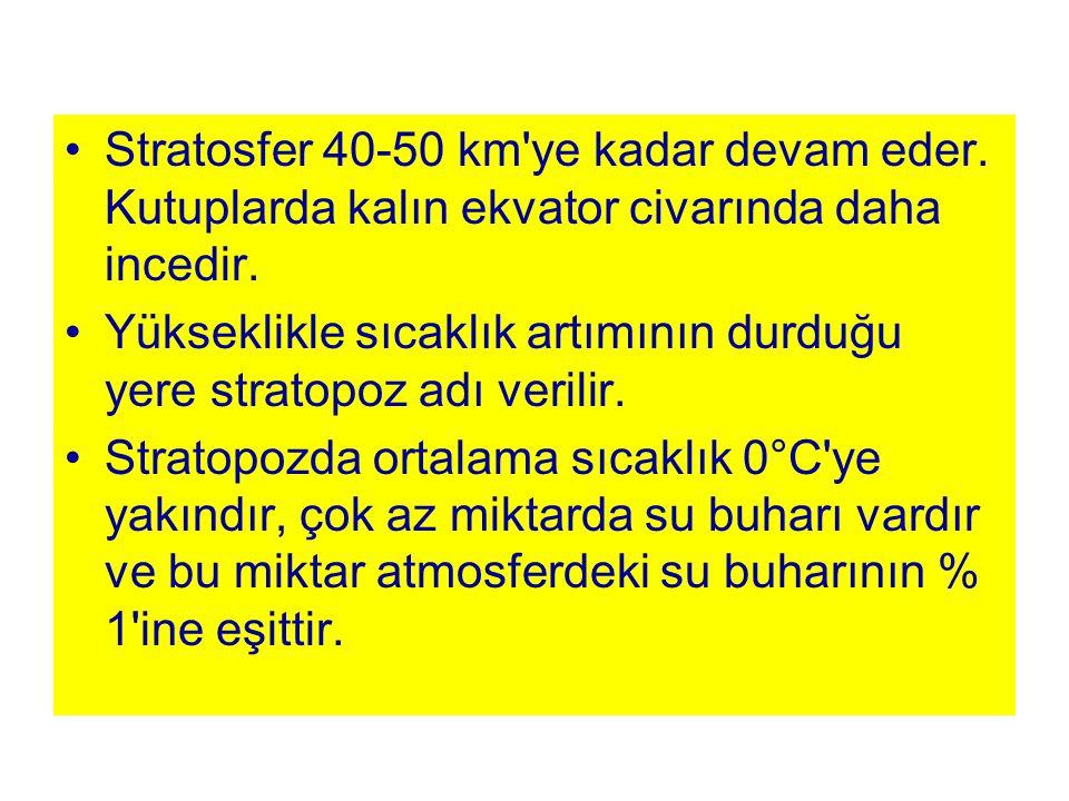 Stratosfer 40-50 km ye kadar devam eder