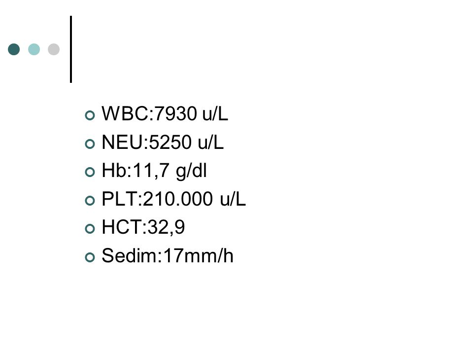 WBC:7930 u/L NEU:5250 u/L Hb:11,7 g/dl PLT:210.000 u/L HCT:32,9 Sedim:17mm/h
