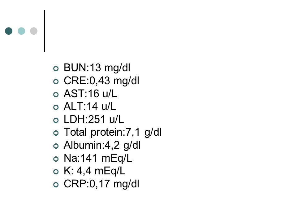 BUN:13 mg/dl CRE:0,43 mg/dl. AST:16 u/L. ALT:14 u/L. LDH:251 u/L. Total protein:7,1 g/dl. Albumin:4,2 g/dl.