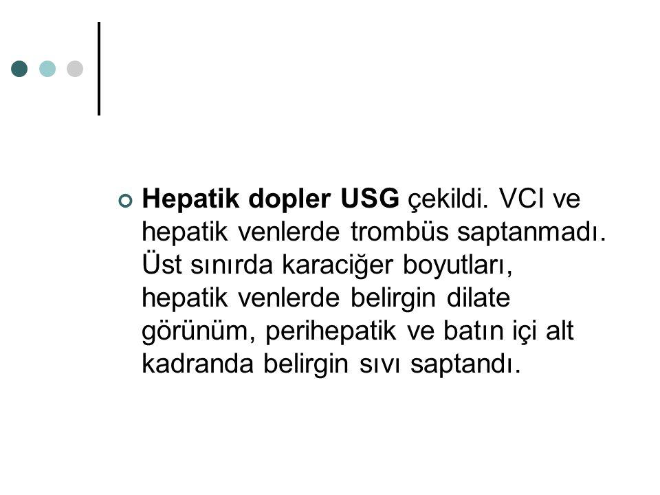 Hepatik dopler USG çekildi. VCI ve hepatik venlerde trombüs saptanmadı