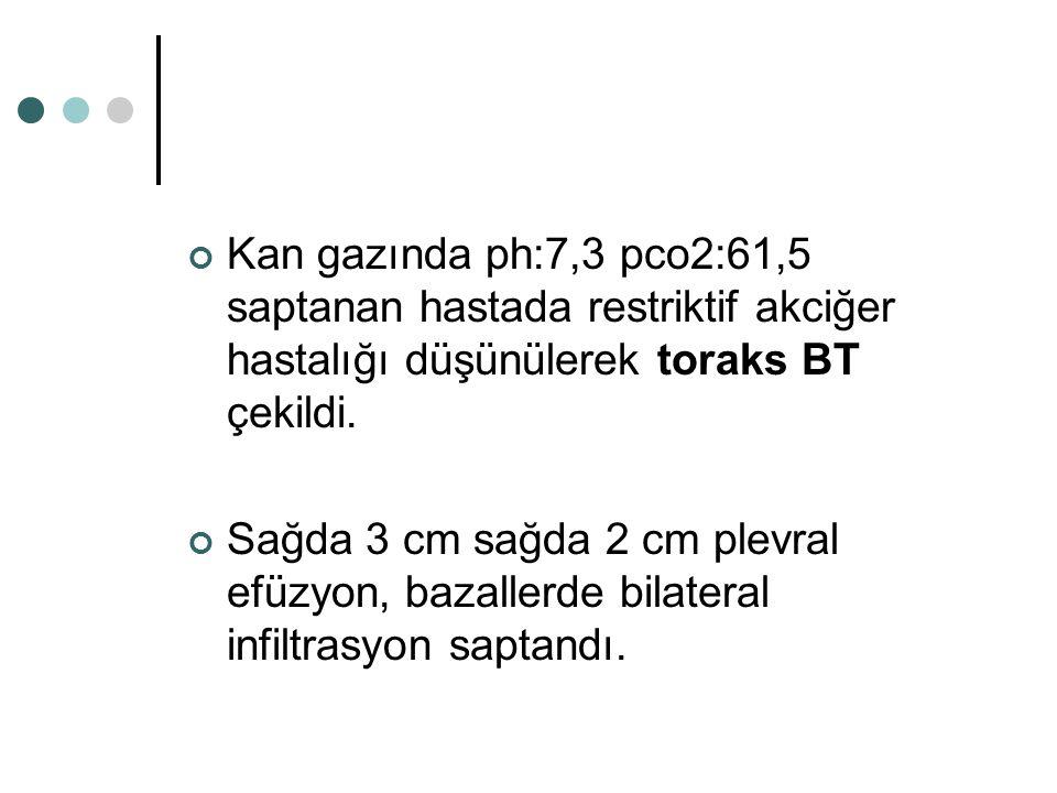 Kan gazında ph:7,3 pco2:61,5 saptanan hastada restriktif akciğer hastalığı düşünülerek toraks BT çekildi.