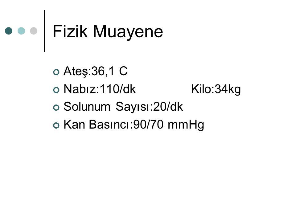 Fizik Muayene Ateş:36,1 C Nabız:110/dk Kilo:34kg Solunum Sayısı:20/dk