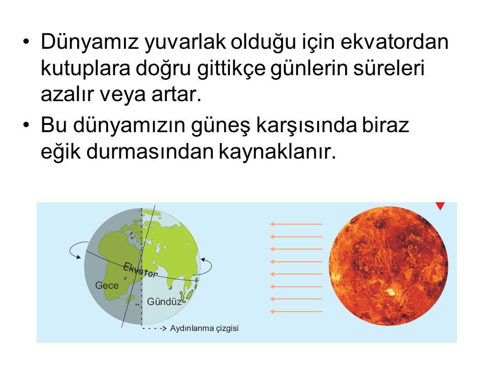 Dünyamız yuvarlak olduğu için ekvatordan kutuplara doğru gittikçe günlerin süreleri azalır veya artar.