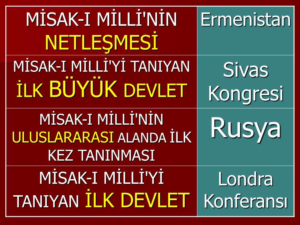 Rusya Sivas Kongresi MİSAK-I MİLLİ NİN NETLEŞMESİ Ermenistan