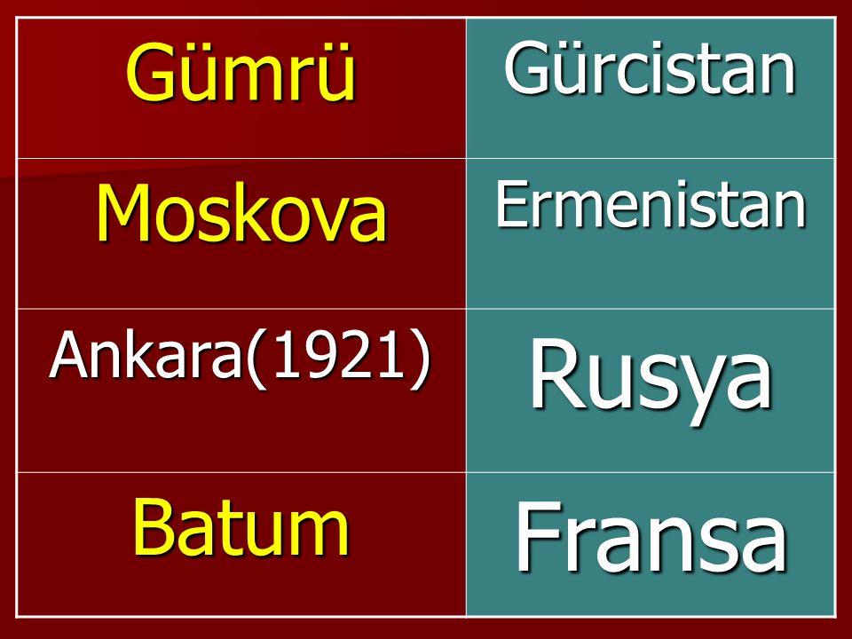 Gümrü Gürcistan Moskova Ermenistan Ankara(1921) Rusya Batum Fransa