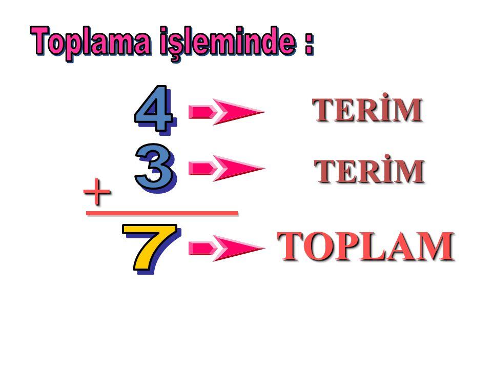 Toplama işleminde : 4 TERİM 3 TERİM + TOPLAM 7