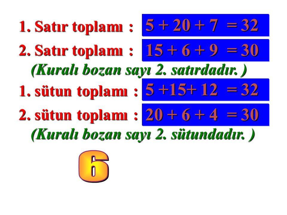 1. Satır toplamı : 5 + 20 + 7 = 32. 2. Satır toplamı : 15 + 6 + 9 = 30. (Kuralı bozan sayı 2. satırdadır. )
