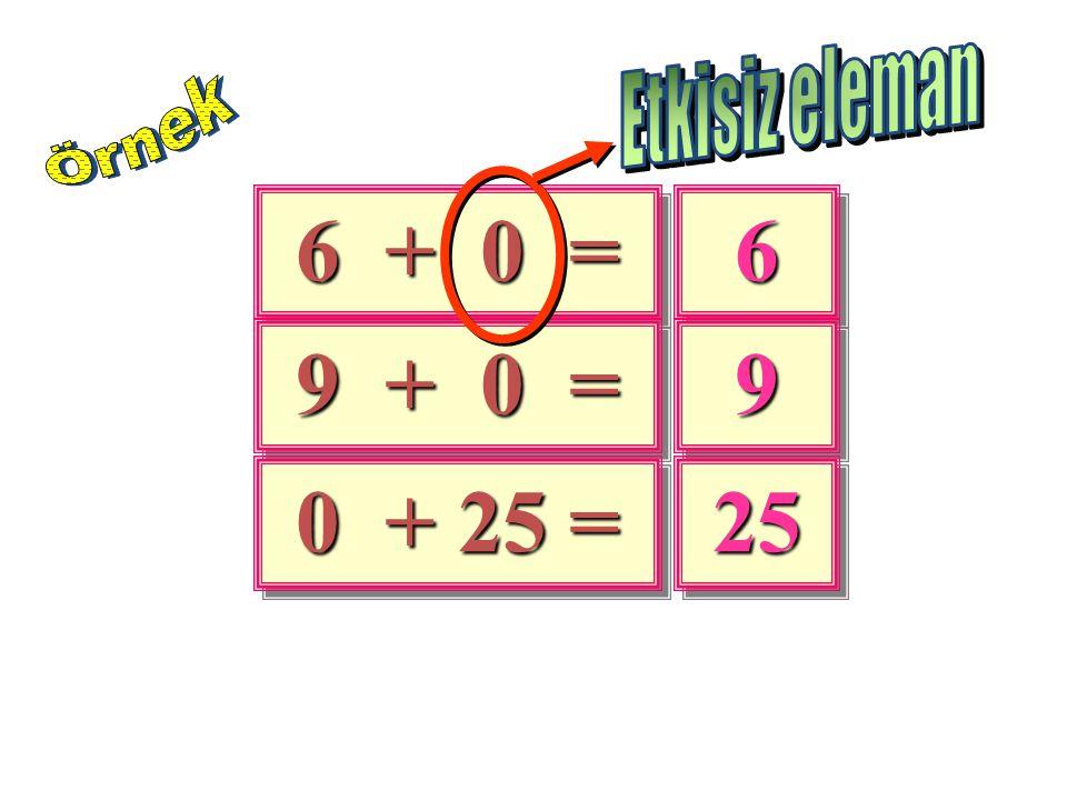 Etkisiz eleman Örnek 6 + 0 = 6 9 + 0 = 9 0 + 25 = 25