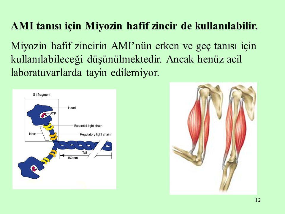 AMI tanısı için Miyozin hafif zincir de kullanılabilir.