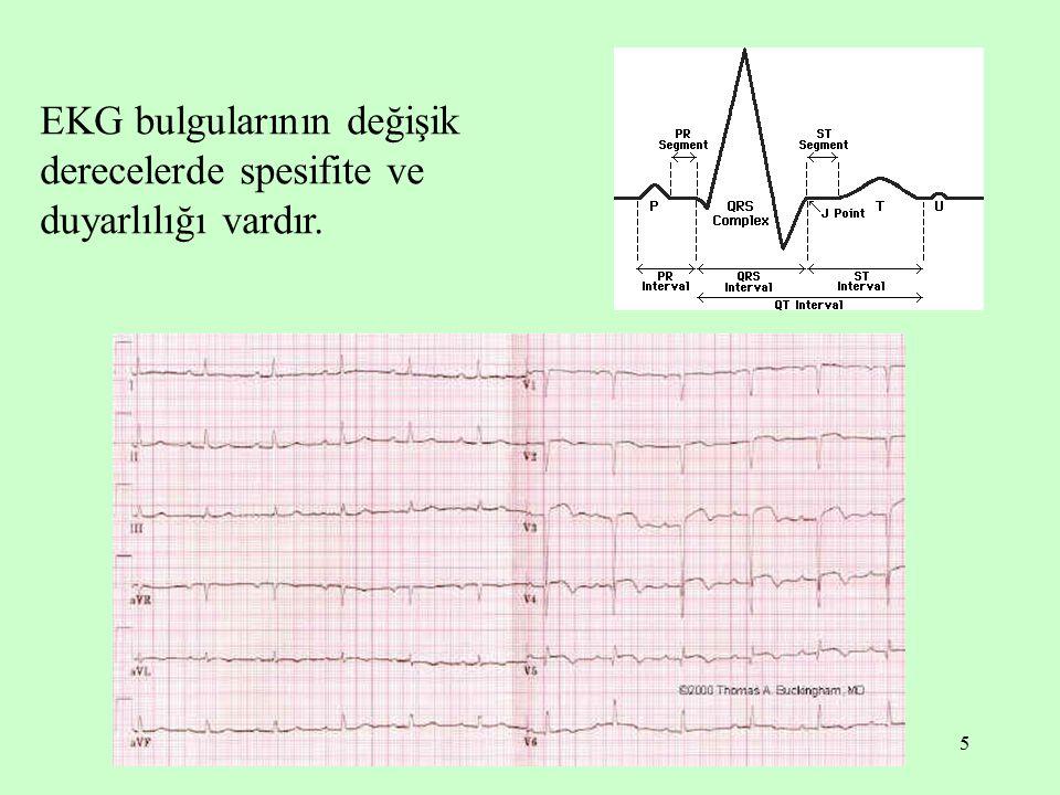 EKG bulgularının değişik derecelerde spesifite ve duyarlılığı vardır.