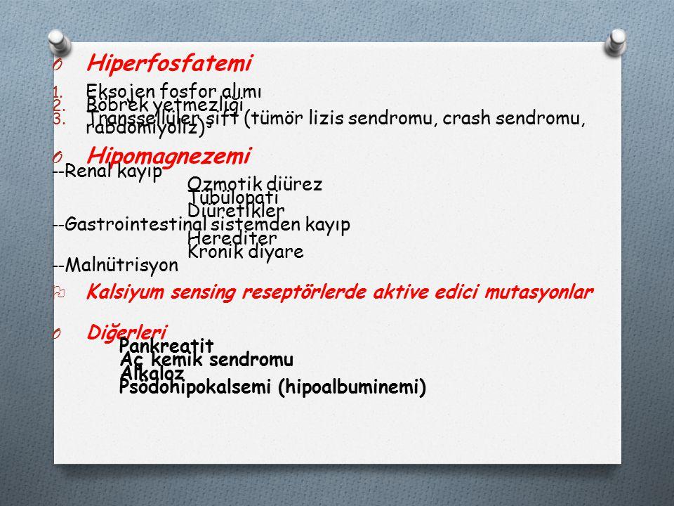 Hiperfosfatemi Hipomagnezemi Eksojen fosfor alımı Böbrek yetmezliği