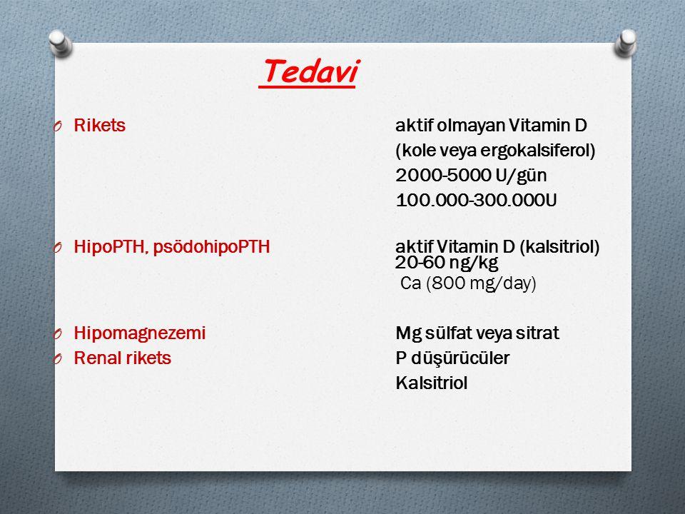 Tedavi Rikets aktif olmayan Vitamin D (kole veya ergokalsiferol)
