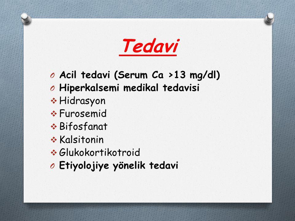 Tedavi Acil tedavi (Serum Ca >13 mg/dl)