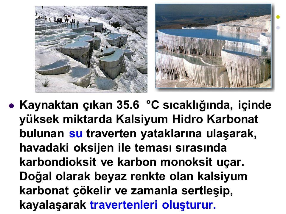 Kaynaktan çıkan 35.6 °C sıcaklığında, içinde yüksek miktarda Kalsiyum Hidro Karbonat bulunan su traverten yataklarına ulaşarak, havadaki oksijen ile teması sırasında karbondioksit ve karbon monoksit uçar.