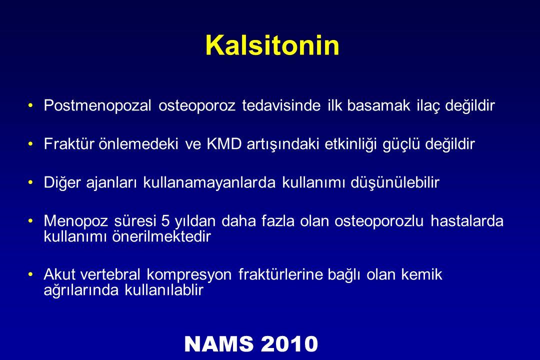 Kalsitonin Postmenopozal osteoporoz tedavisinde ilk basamak ilaç değildir. Fraktür önlemedeki ve KMD artışındaki etkinliği güçlü değildir.
