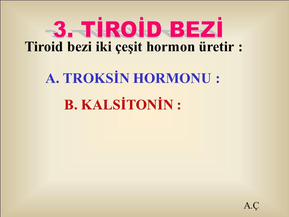 Tiroid bezi iki çeşit hormon üretir :