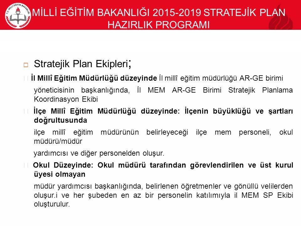 MİLLİ EĞİTİM BAKANLIĞI 2015-2019 STRATEJİK PLAN HAZIRLIK PROGRAMI