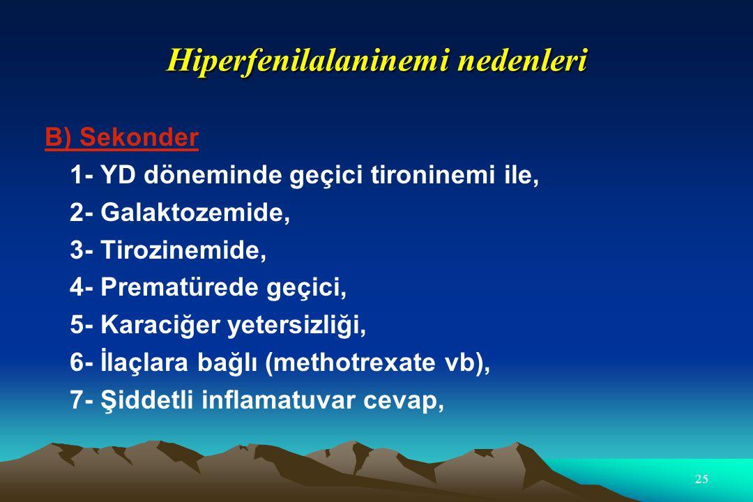 Hiperfenilalaninemi nedenleri