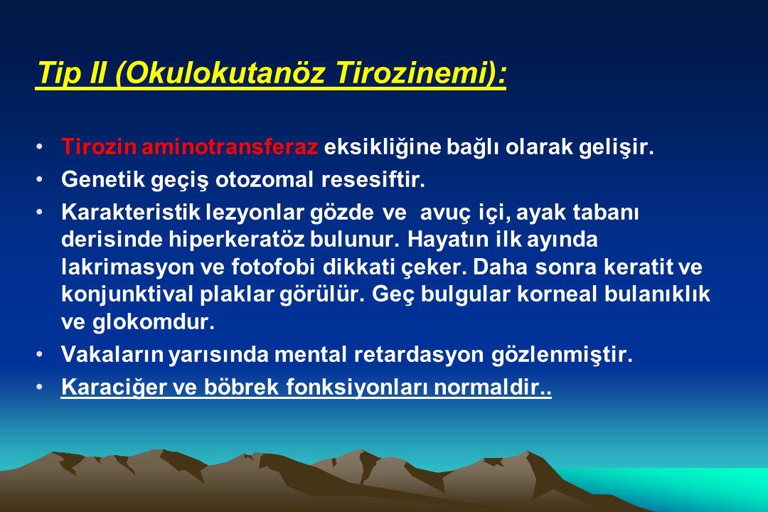 Tip II (Okulokutanöz Tirozinemi):