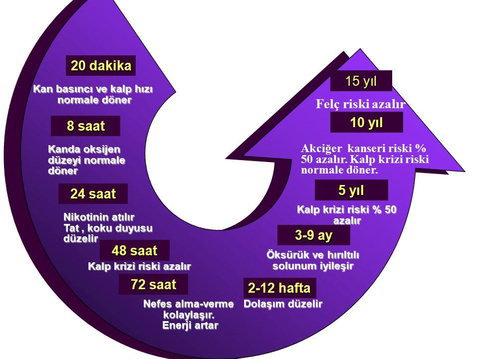 20 dakika 15 yıl Felç riski azalır 10 yıl 8 saat 5 yıl 24 saat 3-9 ay