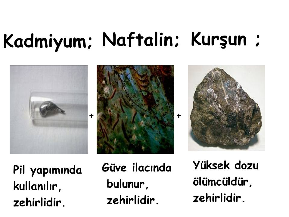 Naftalin; Kurşun ; Kadmiyum; Yüksek dozu Güve ilacında Pil yapımında
