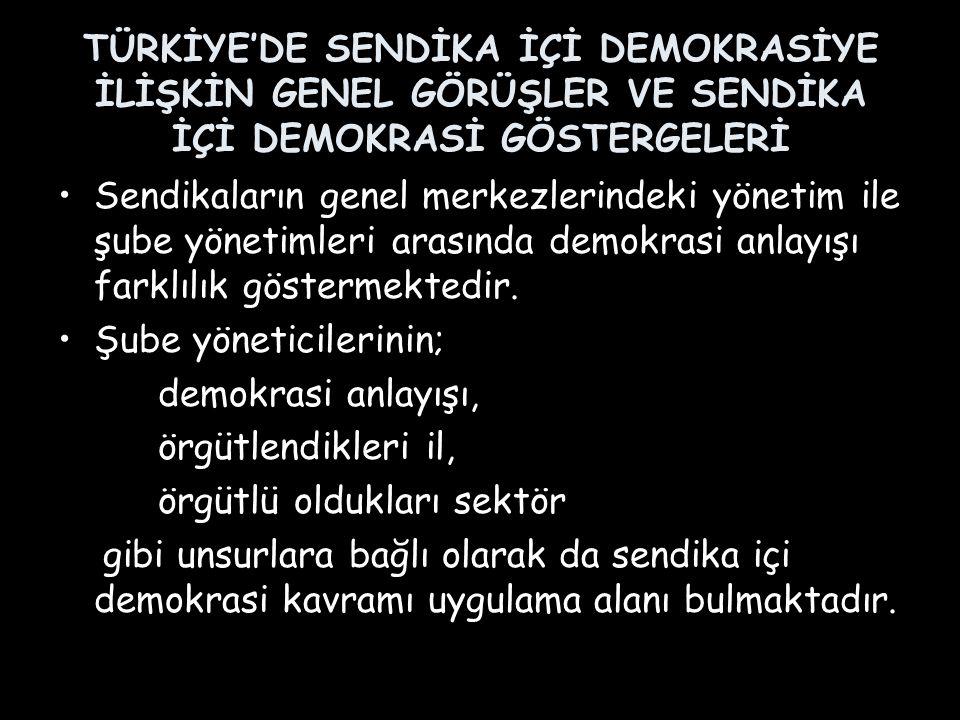 TÜRKİYE'DE SENDİKA İÇİ DEMOKRASİYE İLİŞKİN GENEL GÖRÜŞLER VE SENDİKA İÇİ DEMOKRASİ GÖSTERGELERİ