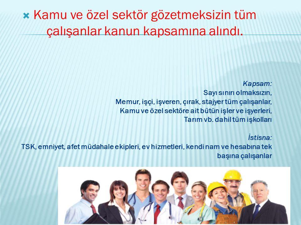 Kamu ve özel sektör gözetmeksizin tüm çalışanlar kanun kapsamına alındı.